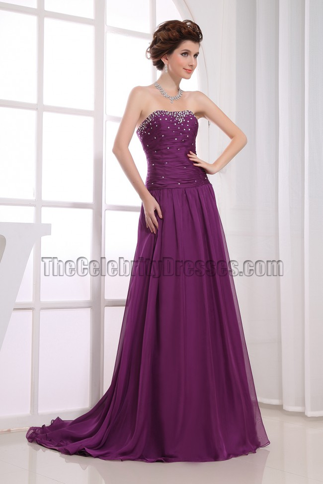 Elegant Purple Strapless A-Line Formal Gowns Prom Dresses ...