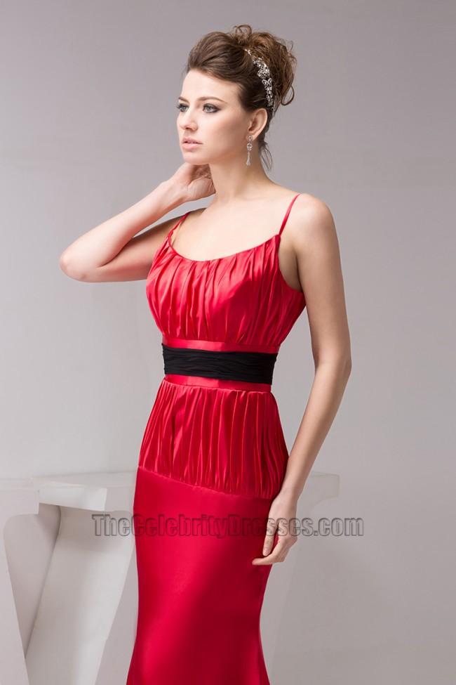 Red cocktail dress black belt