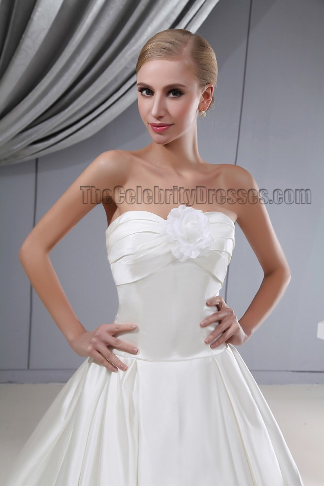 bb10dce460a00 Elegant Strapless A-Line Chapel Train Silk Like Satin Wedding Dress -  TheCelebrityDresses