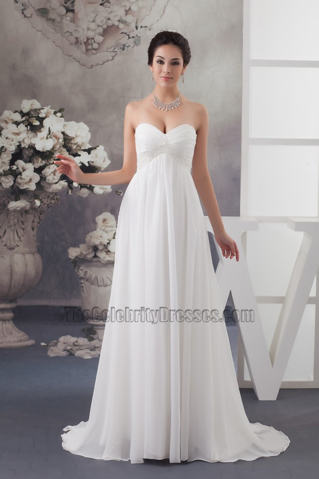 Elegant Strapless A-Line Chiffon Wedding Dress Bridal Gown ...