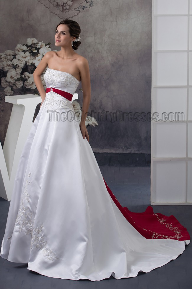 Strapless embroidered a line chapel train white and for Free wedding dress catalog