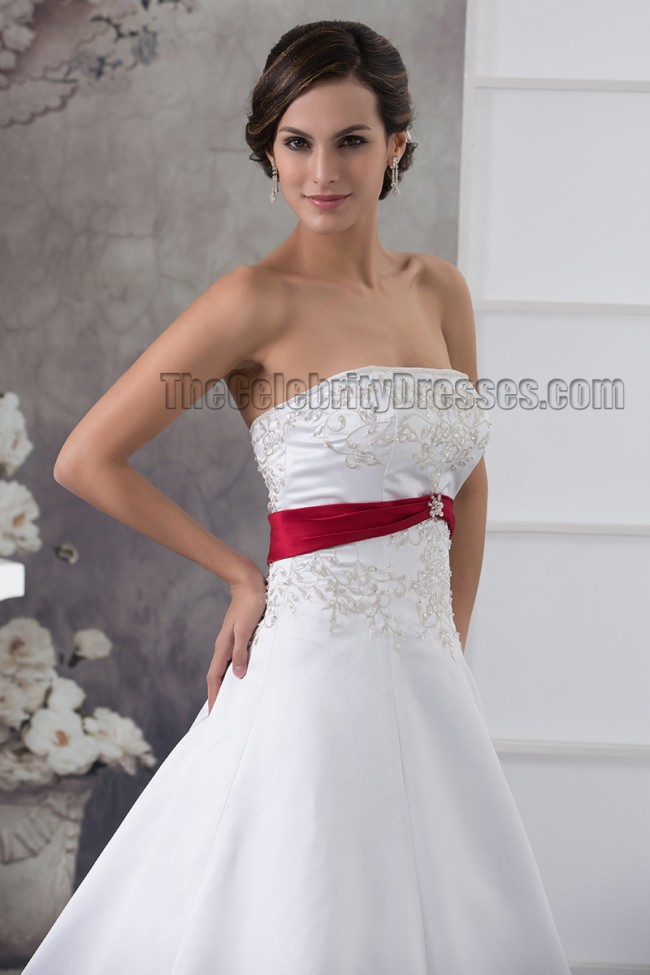 Strapless Embroidered A-Line Chapel Train White And Burgundy ...