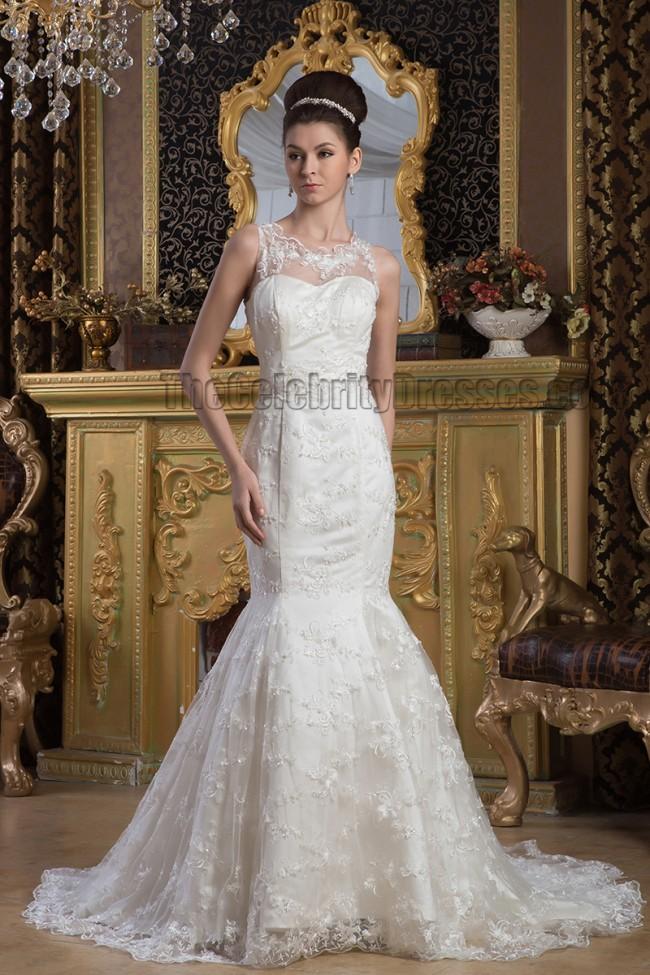 Elegant trumpet mermaid lace sleeveless wedding dress for Free wedding dress catalog