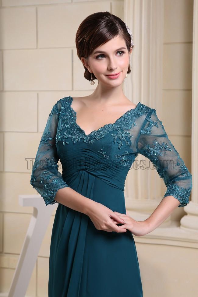 Elegant V Neck Lace Chiffon Formal Dress Prom Evening