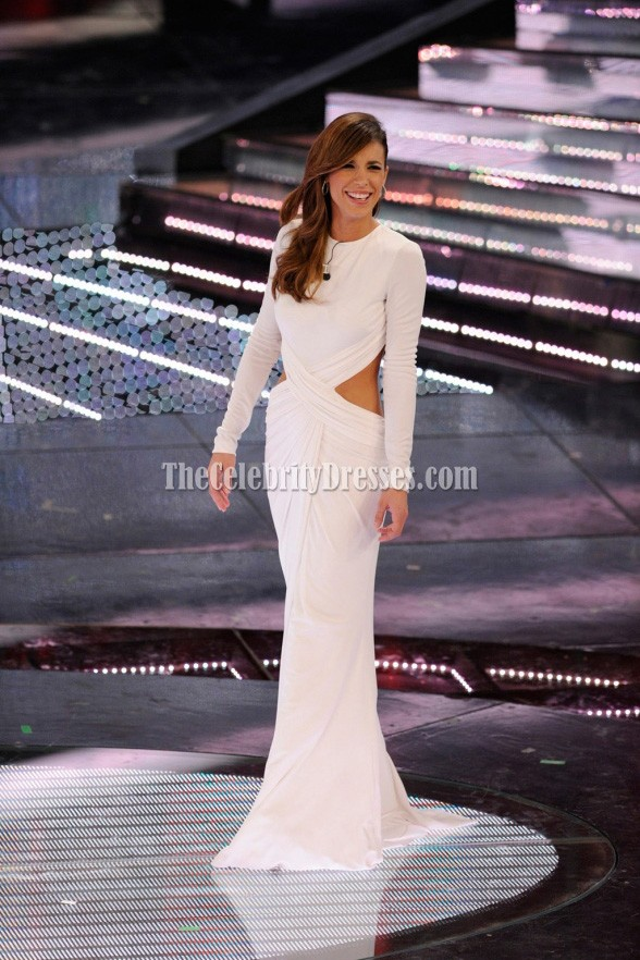 Elisabetta Canalis White Cut Out Gown Prom Dress Sanremo ...
