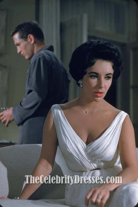 Elizabeth Taylor Vintage White Cocktail Dress In Movie Cat On A Hot Tin Roof