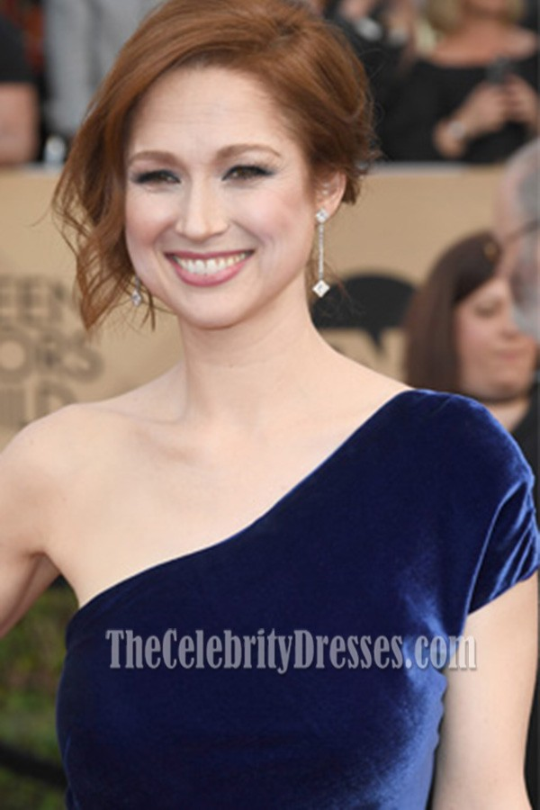 Ellie Kemper Royal Blue One Shoulder Velvet Evening Prom Gown 2017