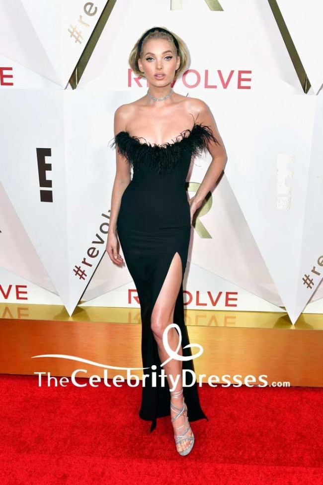 Elsa Hosk Black Strapless Thigh High Slit Evening Dress