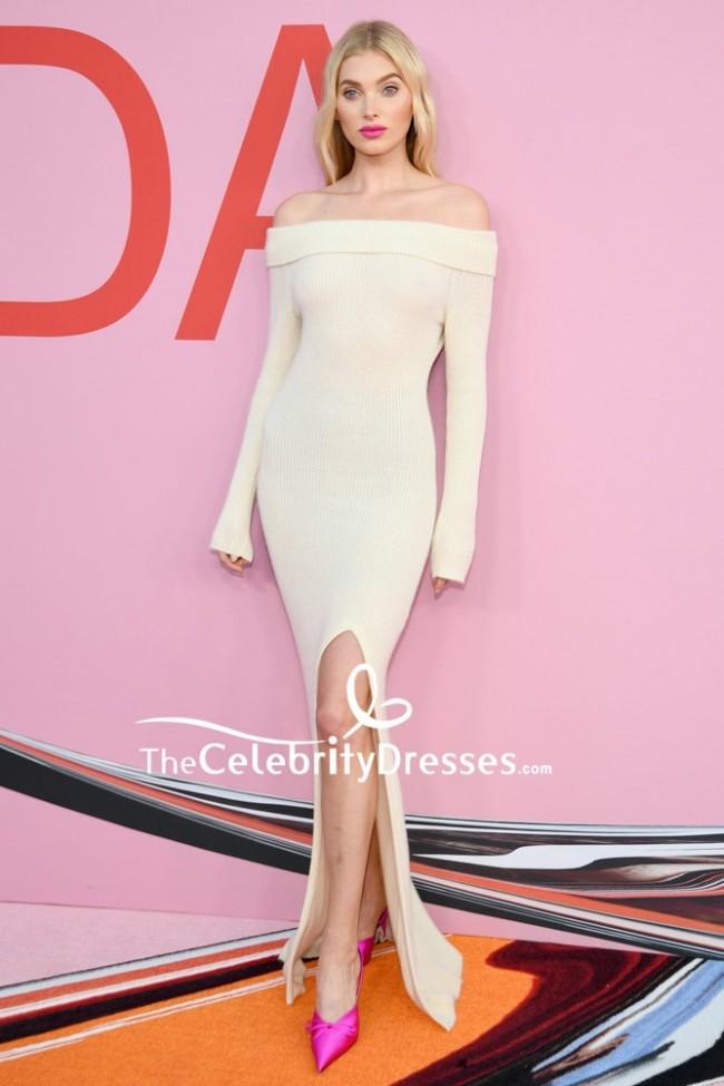 fefb075575d5 Elsa Hosk Nude Off-the-shoulder Slit Evening Dress 2019 CFDA Fashion Awards