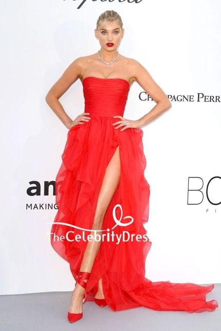 elsa hosk strapless thighhigh slit high low red dress