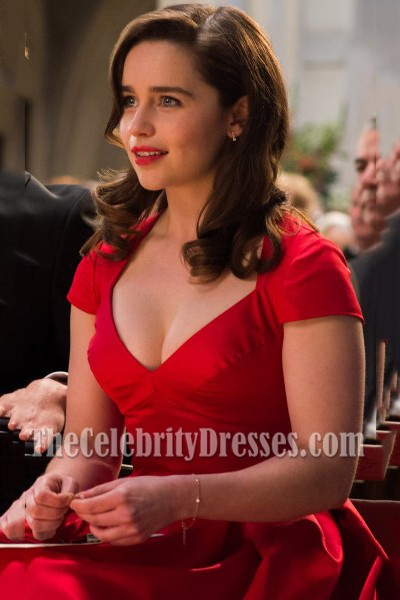 5fa001fe642502 Emilia Clarke Red Cap Sleeves Short Party Dress In Movie Me Before You 1
