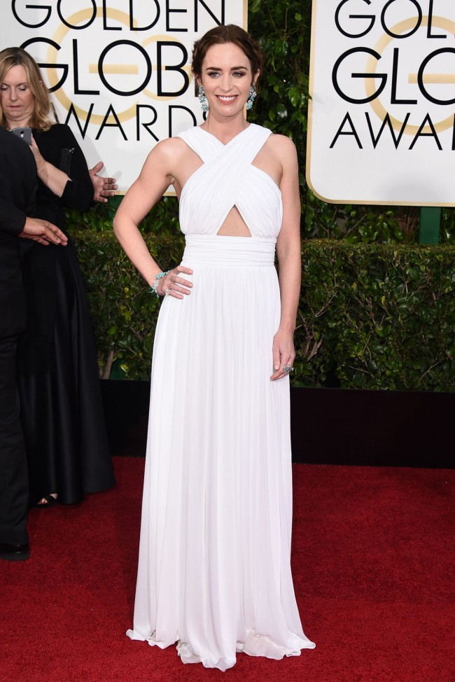 Emily Blunt 2015 Golden Globe Awards White Chiffon Dress