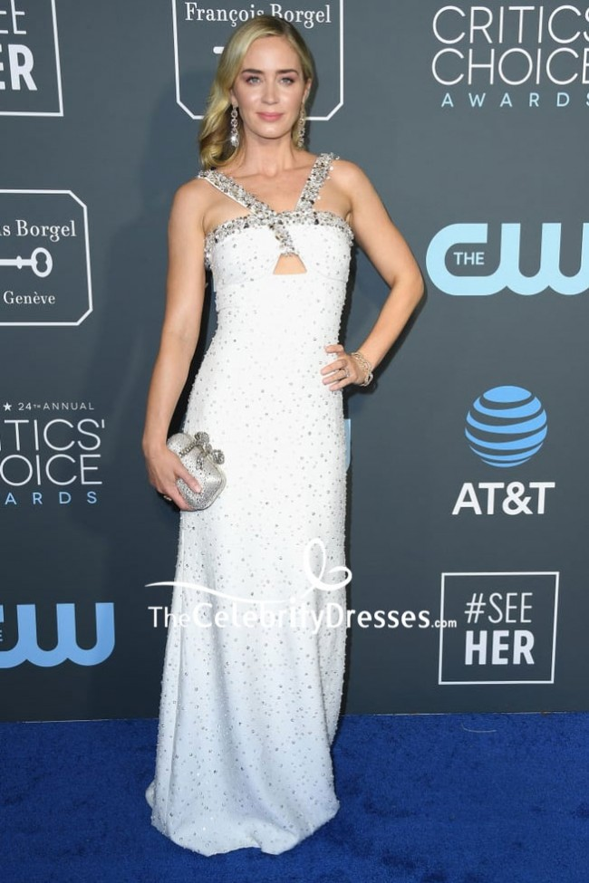 319565735a41 Emily Blunt White Luxury Beaded Cut Out Evening Dress Critics' Choice  Awards 2019