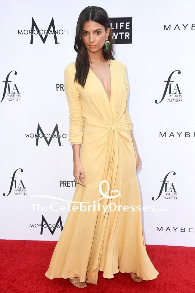 04f34df1010d9a Emily Ratajkowski Deep V-neck Evening Dress With Long Sleeves 2018 Fashion  Los Angeles Awards