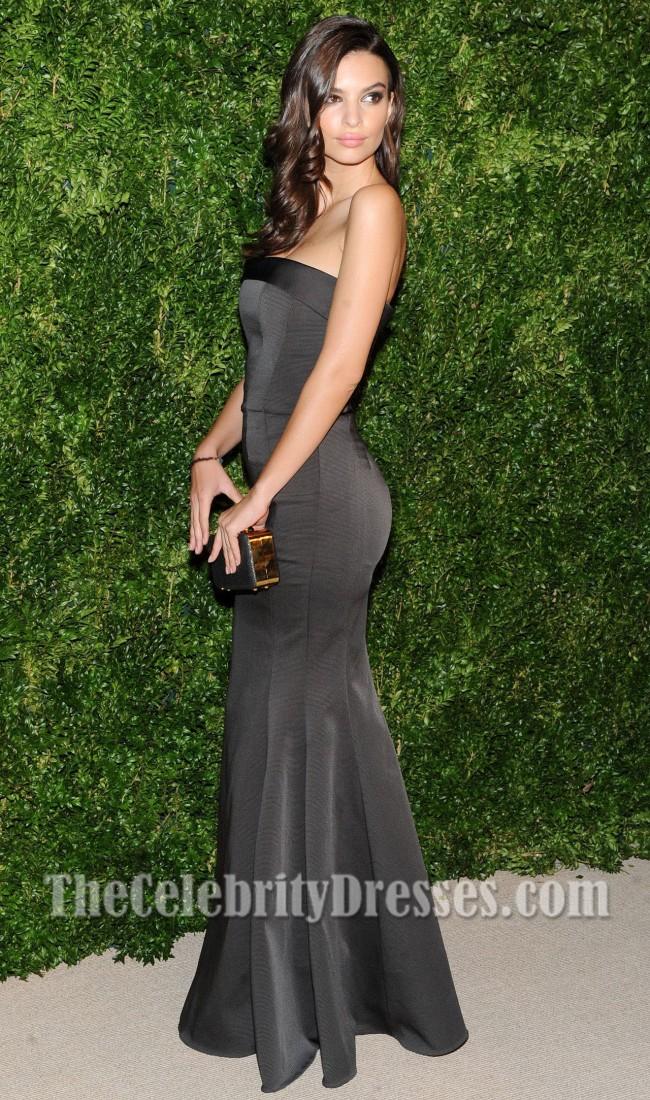 Emily Ratajkowski Black Evening Dress CFDAVogue Fashion Fund Awards