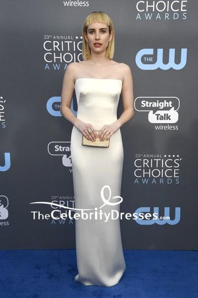 Emma Robert Ivory Strapless Column Evening Dress 2018
