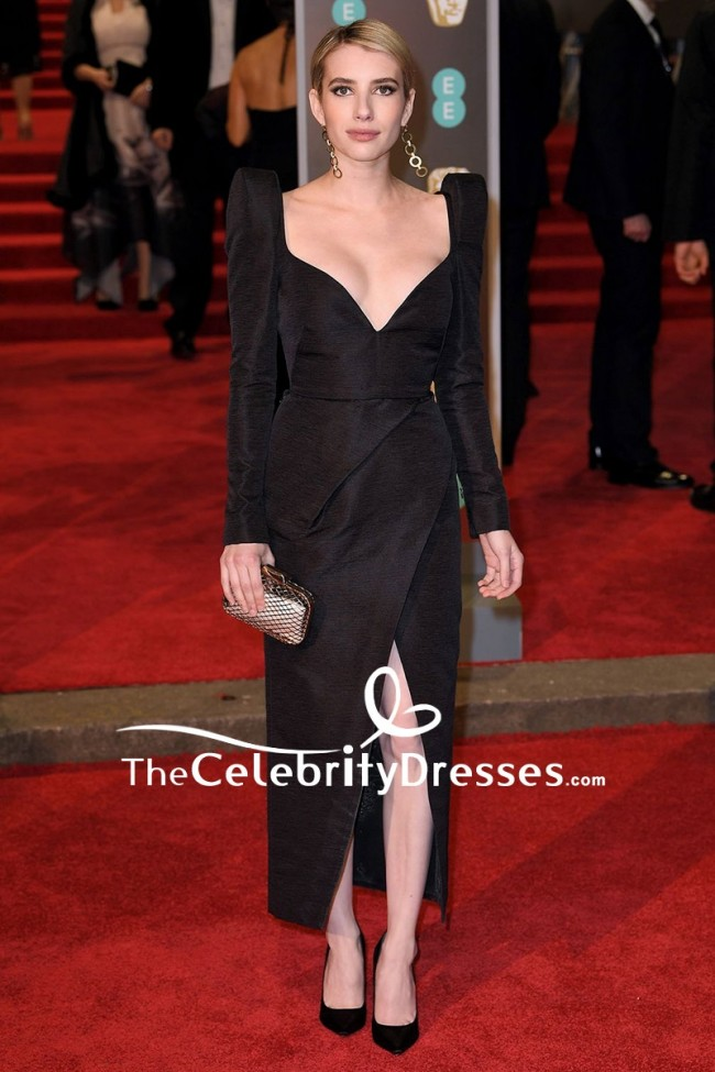 Emma Roberts Black V Neck Thigh High Slit Evening Cocktail Dress Ee British Academy Film Awards 2018 Thecelebritydresses