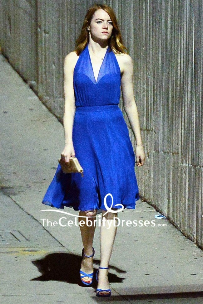 Emma Stone Royal Blue V Neck Short Dress In Movie La La