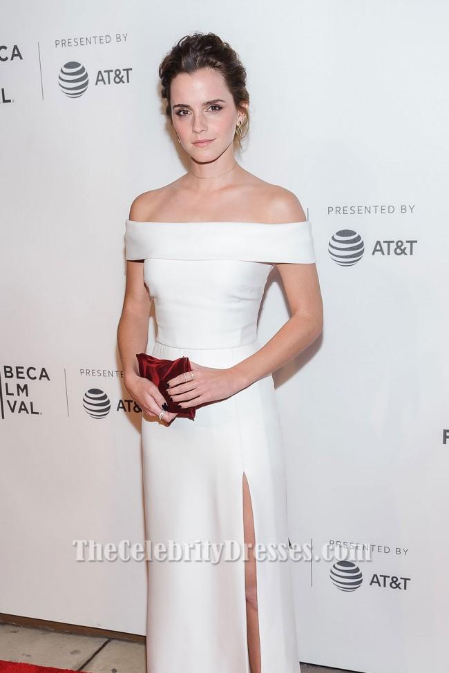 Emma Watson White Satin Dress