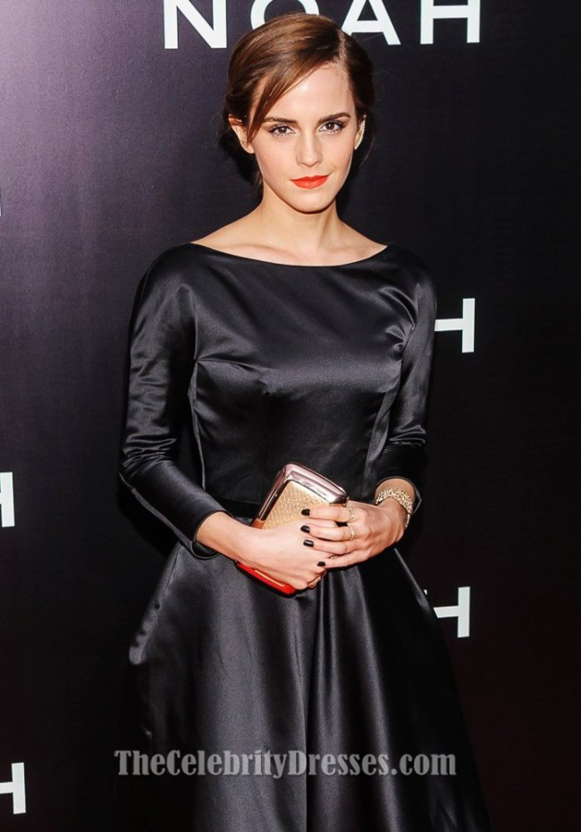 Emma Watson Black Backless Formal Dress New York Premiere