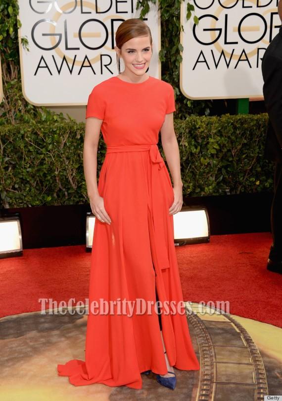 emma watson red backless prom dress 2014 golden globe