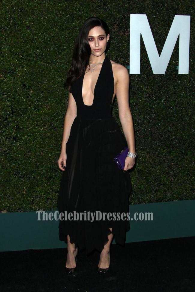Emmy Rossum Black Party Dress Claiborne Swanson Franks Young