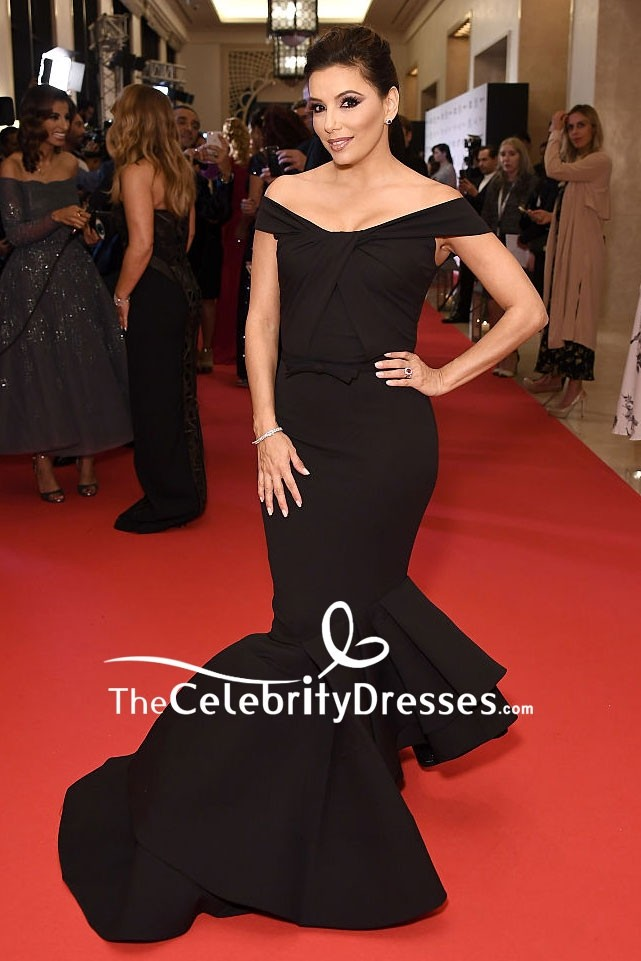 Eva Longoria Black Mermaid Off The Shoulder Formal Evening Dress