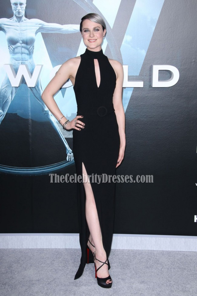 Evan Rachel Wood Black Halter High Slit Evening Prom Gown