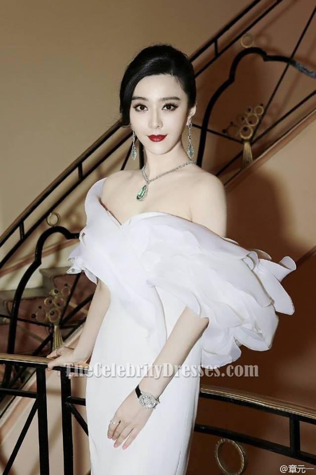Fan Bingbing White Off The Shoulder Evening Dress 2015