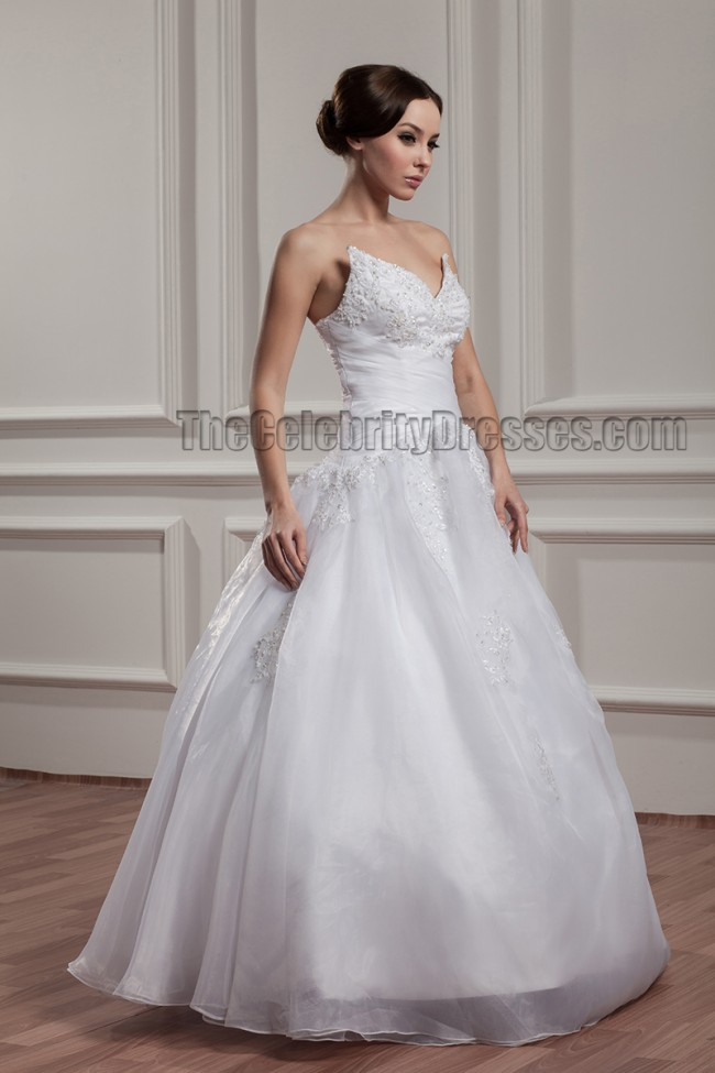 floor length gown strapless embroidered beaded