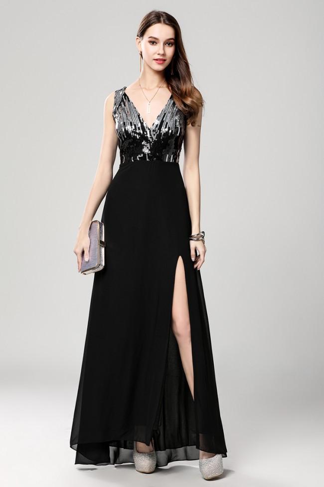 Floor Length Black High Slit Evening Gown Formal Dresses