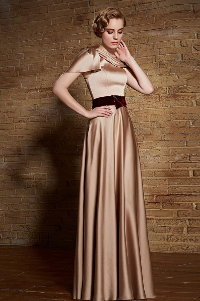 Chiffon Long Formal Dress with Beaded-Lace Applique