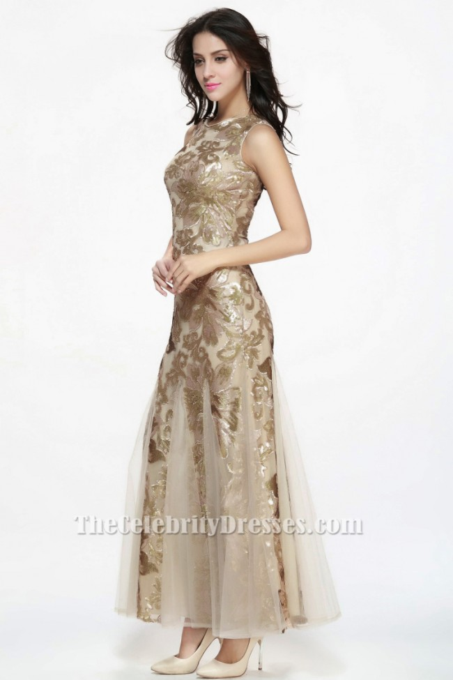 db9673d49d1083 Floor Length Champagne Sequined Sleeveless Formal Dress Evening Gowns -  TheCelebrityDresses