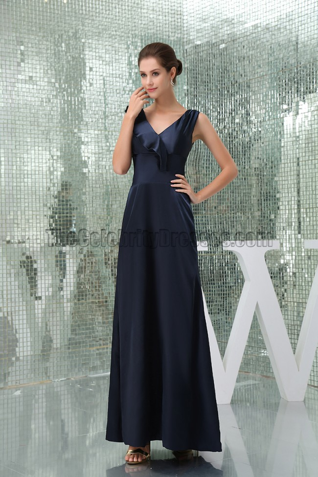 Floor Length Dark Navy Prom Gown Evening Military Ball Gown ...