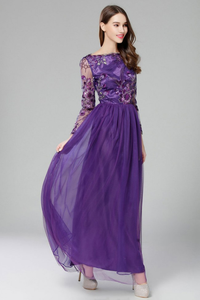 Discount Long Sleeves Lace Evening Gown Formal Dresses ...