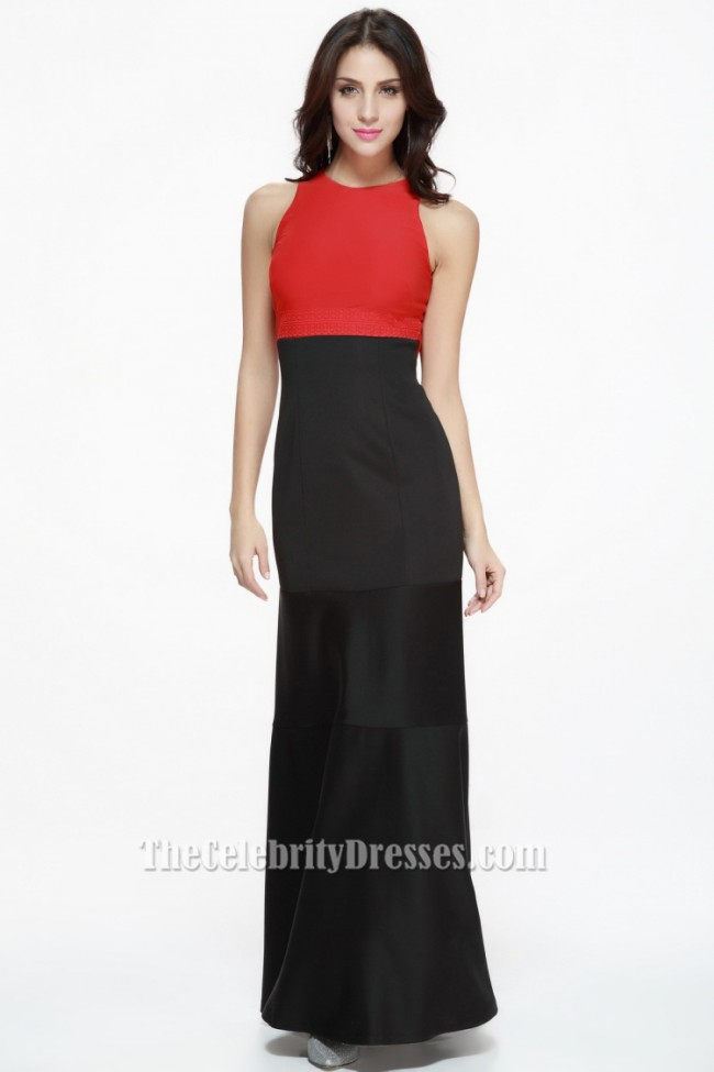 Floor Length Red And Black Evening Gown Formal Dress