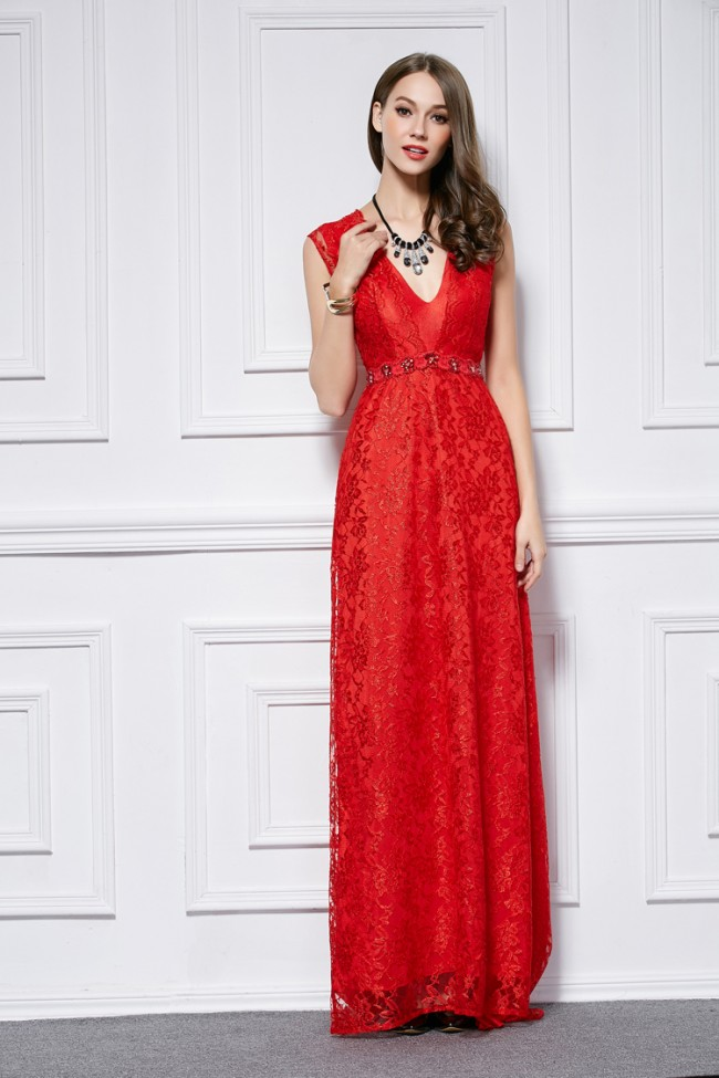 Floor Length Red Lace Cut Out Evening Gown Formal Dresses ...