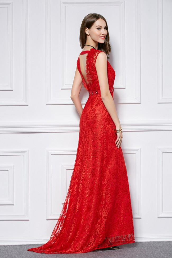 Good Floor Length Red Lace Cut Out Evening Gown Formal Dresses