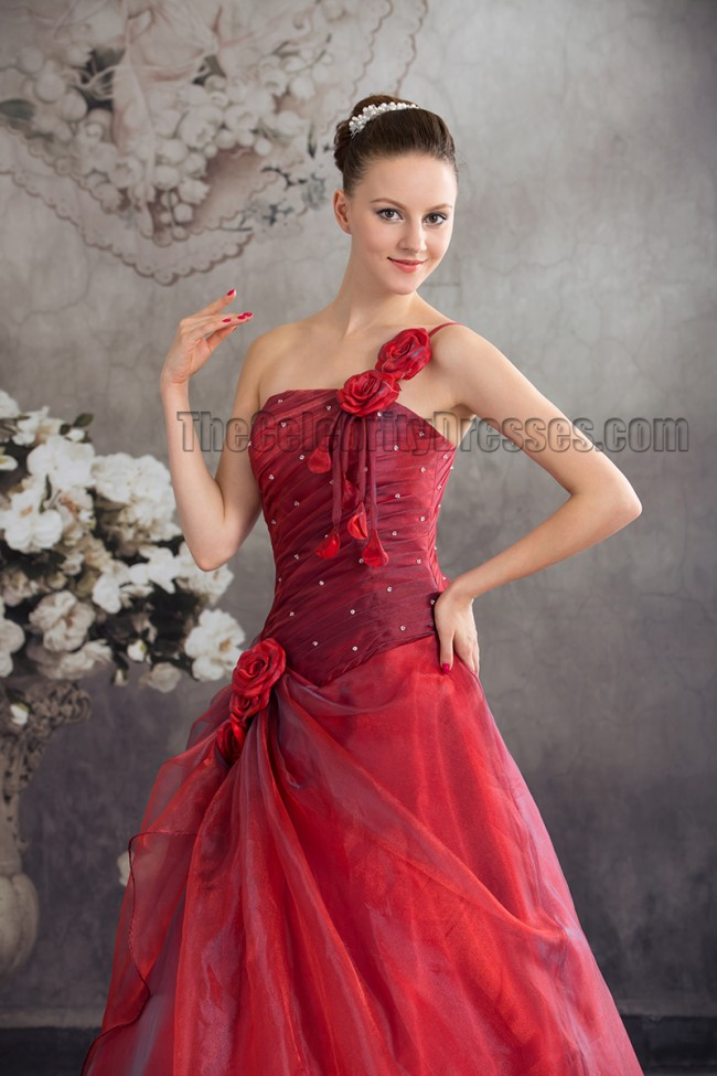 Floor Length Red One Shoulder A Line Prom Gown Formal