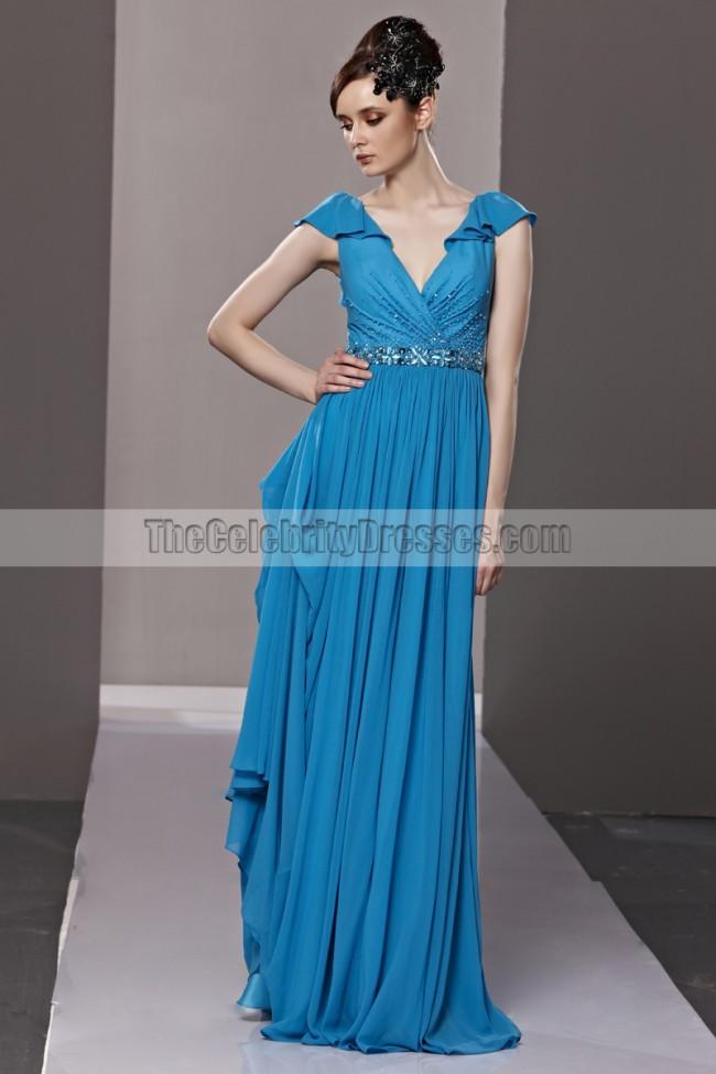 Floor Length Royal Blue Low Back V-Neck Evening Prom ...