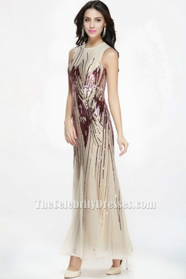 Floor Length Sequined Champagne Tulle Formal Gown Evening Prom Dress ...