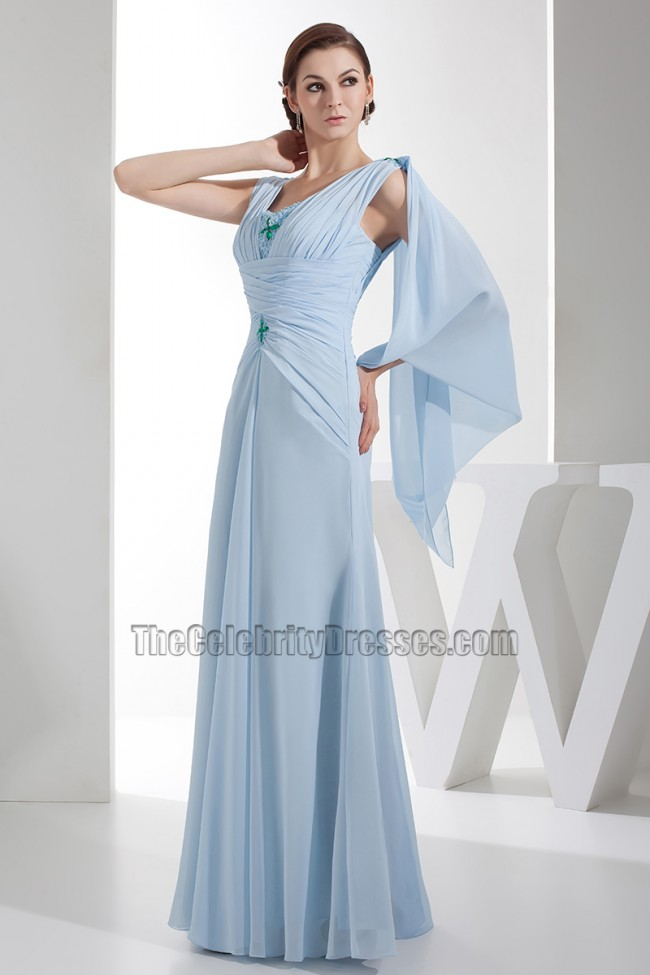 Full Length Light Sky Blue Chiffon Prom Gown Evening Dresses ...