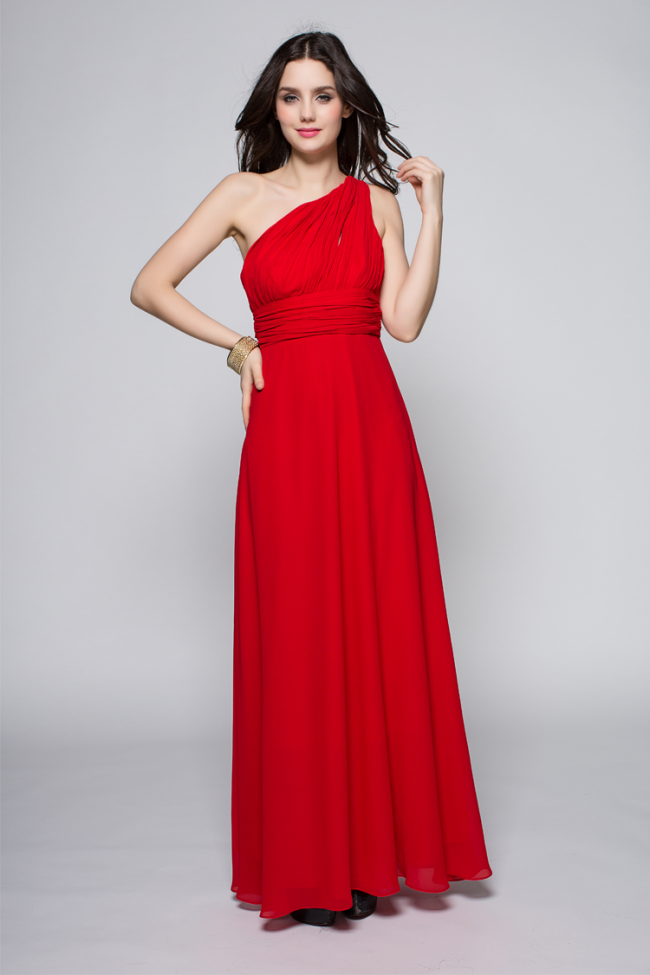 Full Length Red One Shoulder Prom Gown Evening Dress ...