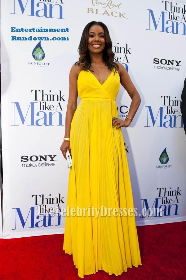 Gabrielle Union Yellow Chiffon Prom Dress Think Like a Man Premiere ...