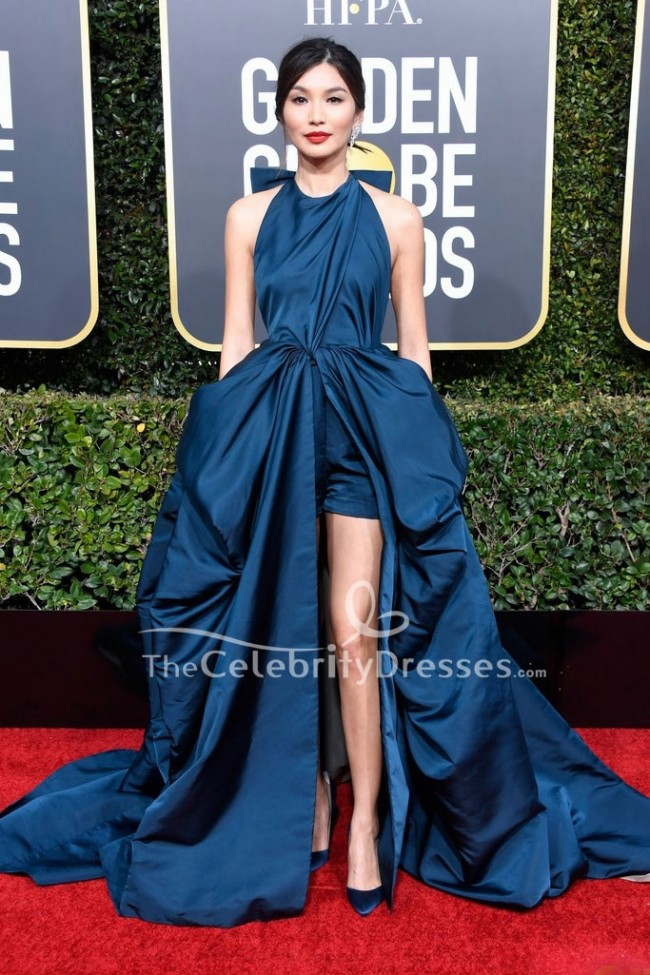 d2fafea21bb0 Gemma Chan Ink Blue High Low Evening Dress Golden Globes 2019 Red Carpet