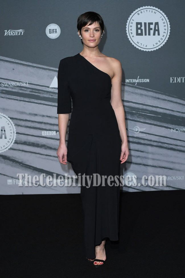 Gemma Arterton Black One Shoulder Evening Prom Gown