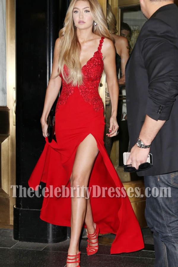 gigi hadid red deep vneckline sexy lace evening prom