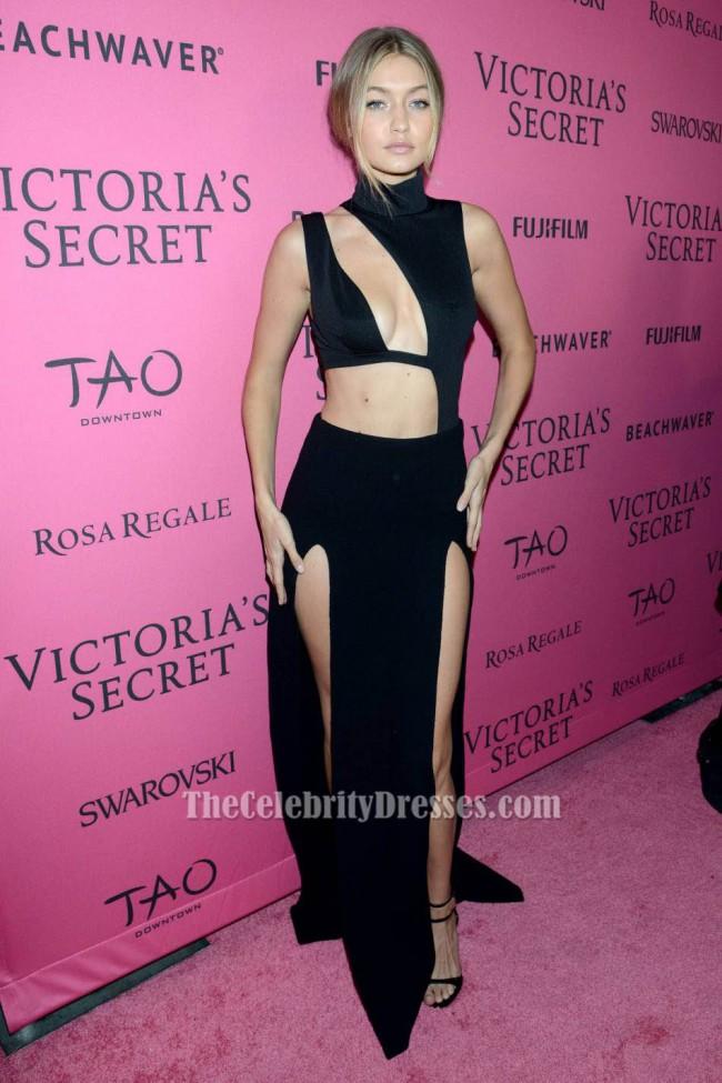 Gigi Hadid Sexy Black Sleeveless Evening Dress 2015 Victorias Secret Fashion After Party