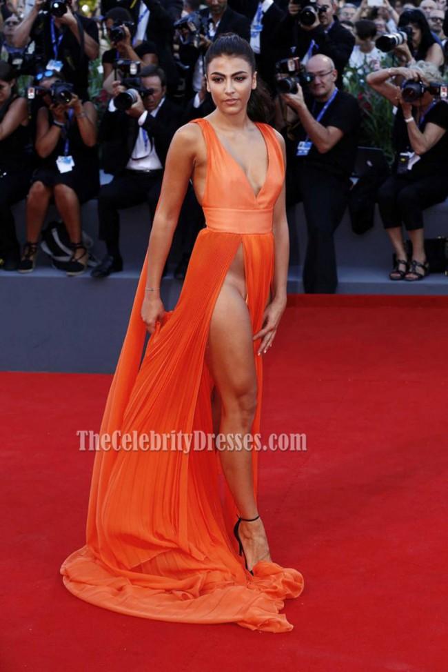 Giulia Salemi Orange Sexy Evening Prom Dress Brimstone