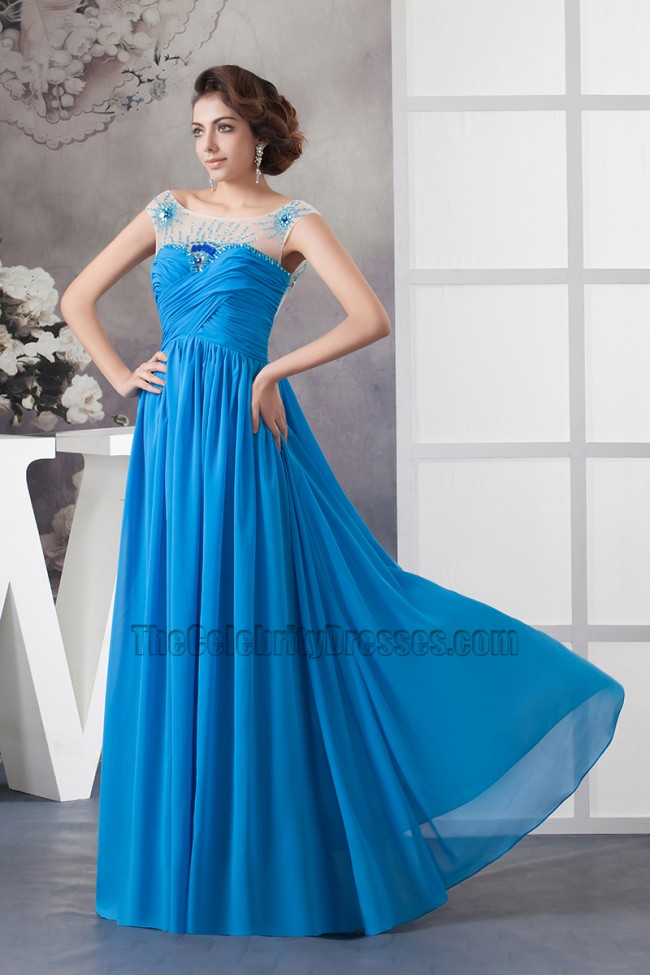 Glamorous Blue Chiffon Backless Prom Dress Evening Gown ... - photo#2